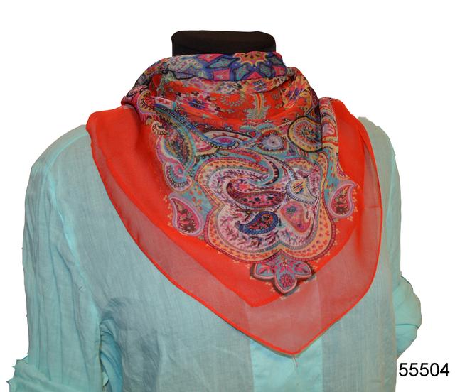 Купить легкий красный женский шелковый платок 1