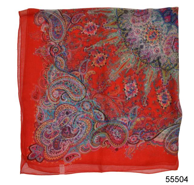 Купить легкий красный женский шелковый платок 2