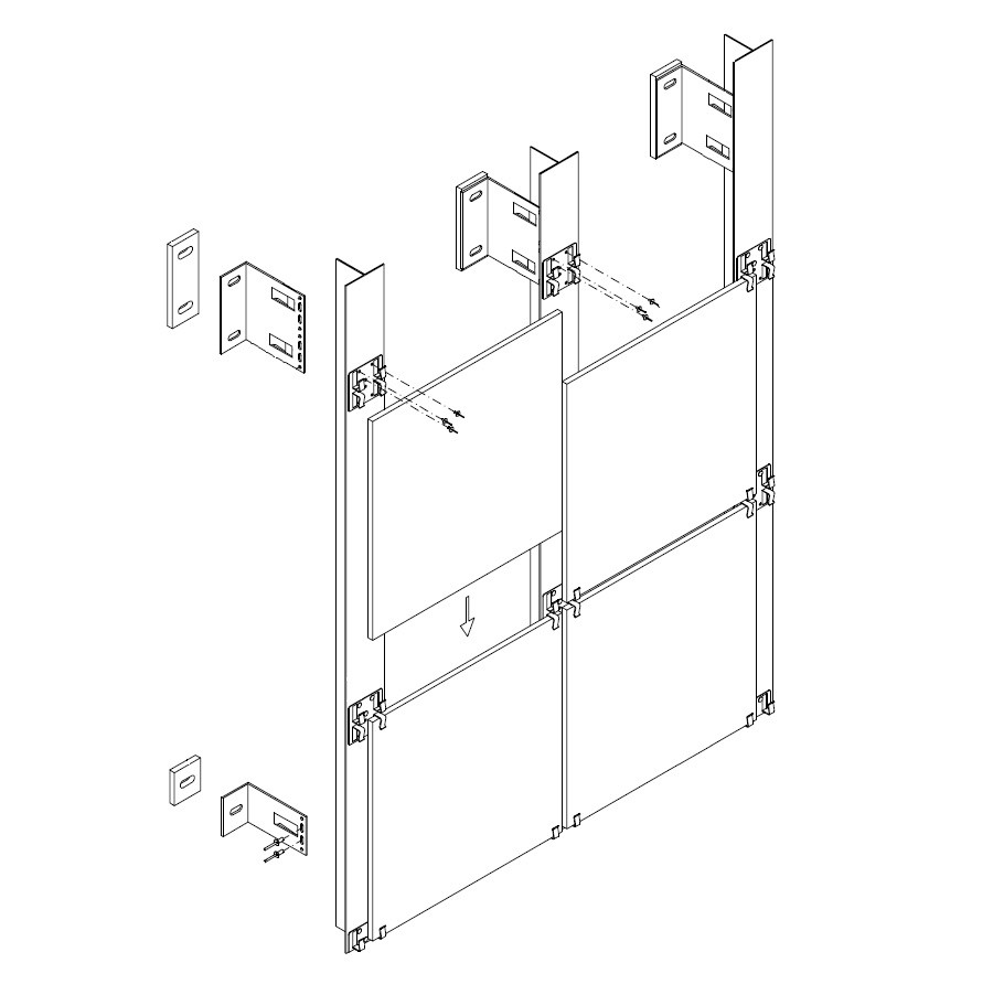 Алюминиевая фасадная система для керамогранита