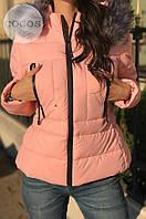 Куртка женская Fashion С капюшоном и мехом розовая