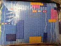 Постельное бельё из жатки голубая абстракция