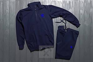 АКЦИЯ Адидас Adidas спортивный костюм размер ХЛ на молнии темно синий  (РЕПЛИКА)