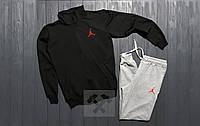 Костюм спортивный Джордан Jordan на молнии черный с серым для парня