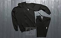 Мужской спортивный костюм на молнии черный (РЕПЛИКА)