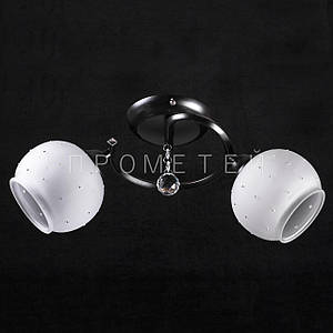Припотолочная люстра на две лампочки (черная) P3-719/2C/BK+WT