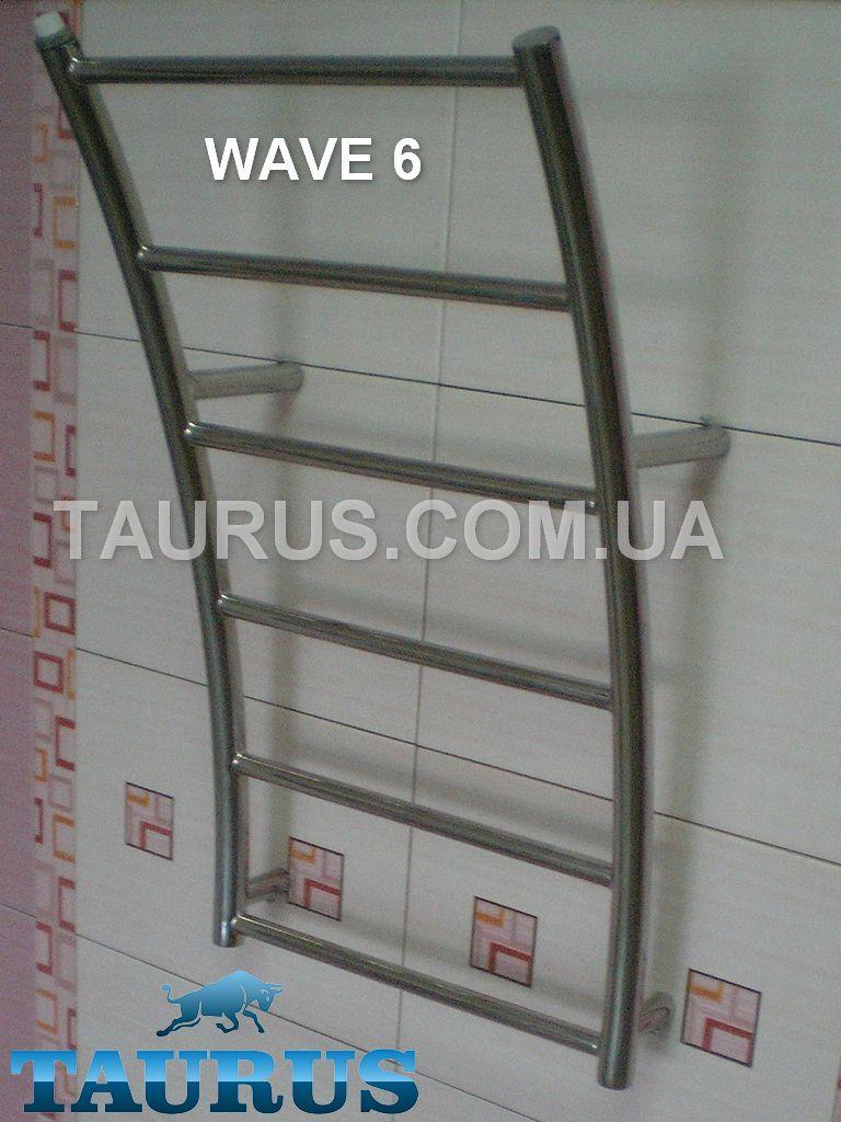 Узкий стильный нержавеющий полотенцесушитель Wave 6/ 400 мм в форме морской волны. 1/2. Украина