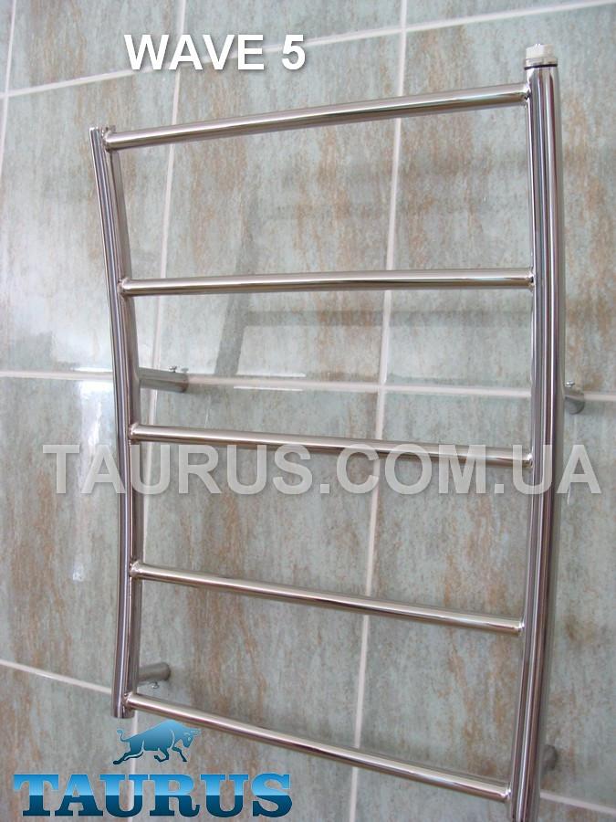 Низкий дизайнерский полотенцесушитель Wave 5/400 мм из нержавеющей стали. Морская волна. Украина