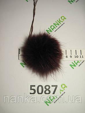 Меховой помпон Лиса, Бордовый, 7 см, 5087, фото 2