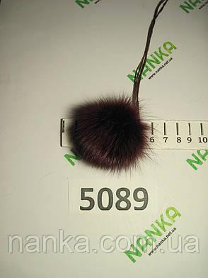 Меховой помпон Лиса, Бордовый, 5 см, 5089, фото 2