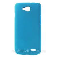Чехол накладка пластик Rubberized для LG L90 Dual D410 голубой