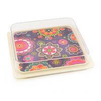 """Тарелка для хранения пищи с пластиковой крышкой """"Purpur"""" 16x16x3см из бамбукового волокна Fissman (AY-8954.16)"""