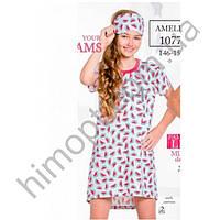 Хлопковая подростковая сорочка для девочки Amelia (красный+серый), Taro