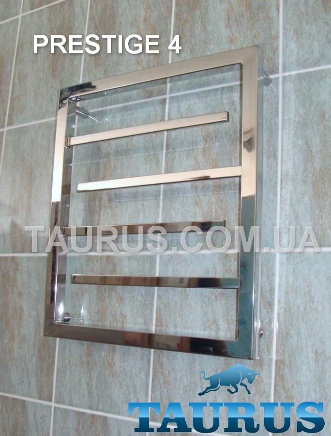 Маленький дизайнерский полотенцесушитель Prestige 4 тупиковые перемычки 20х10 / 550х500. Вода и ТЭН
