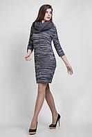 Меланжевое платье в комплекте с воротником «хомут»
