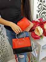 Комплект 2 в 1 (сумка+кошелек) черный с красным