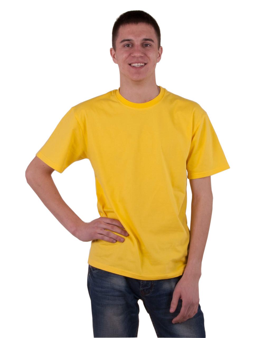 Мужская футболка желтая хлопок 000133