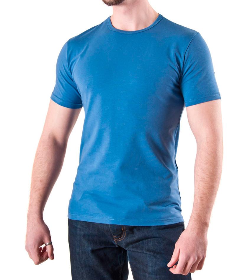 Мужская футболка синий джинс хлопок