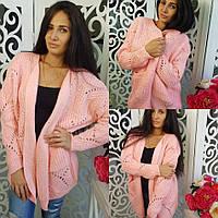 Кардиган женский с карманами, материал - трикотаж вязка, цвет - розовый