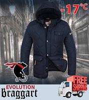 Куртка стеганая с мехом 48, темно-синий