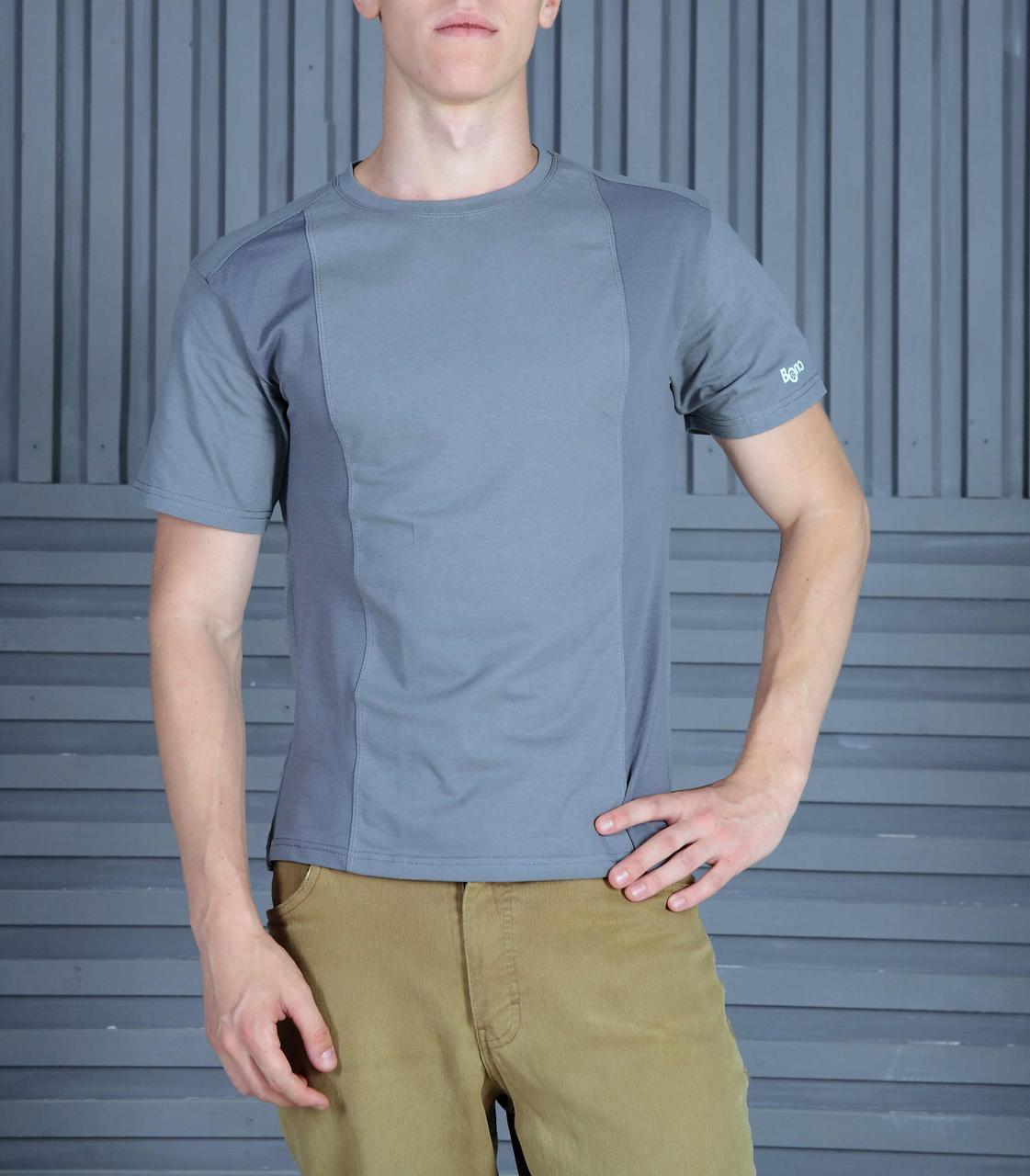 Мужская футболка комби серая