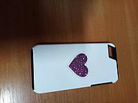 Чехол-накладка Deos Cyclamen Opal Swarovski Heart-белая IPhone 5/5s