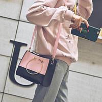 Комплект 2 в 1 (сумка+кошелек) черный с розовым
