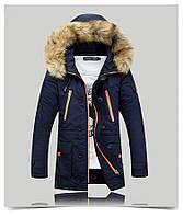 Мужская куртка парка ROUSEN в наличии, Осень-Зима, синий. Размер 46-50