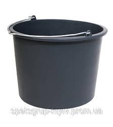 Ведро строительное круглое черное 12 л с носиком MaaN