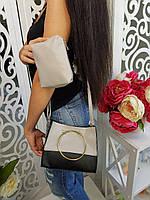 Комплект 2 в 1 (сумка+кошелек) черный с серым