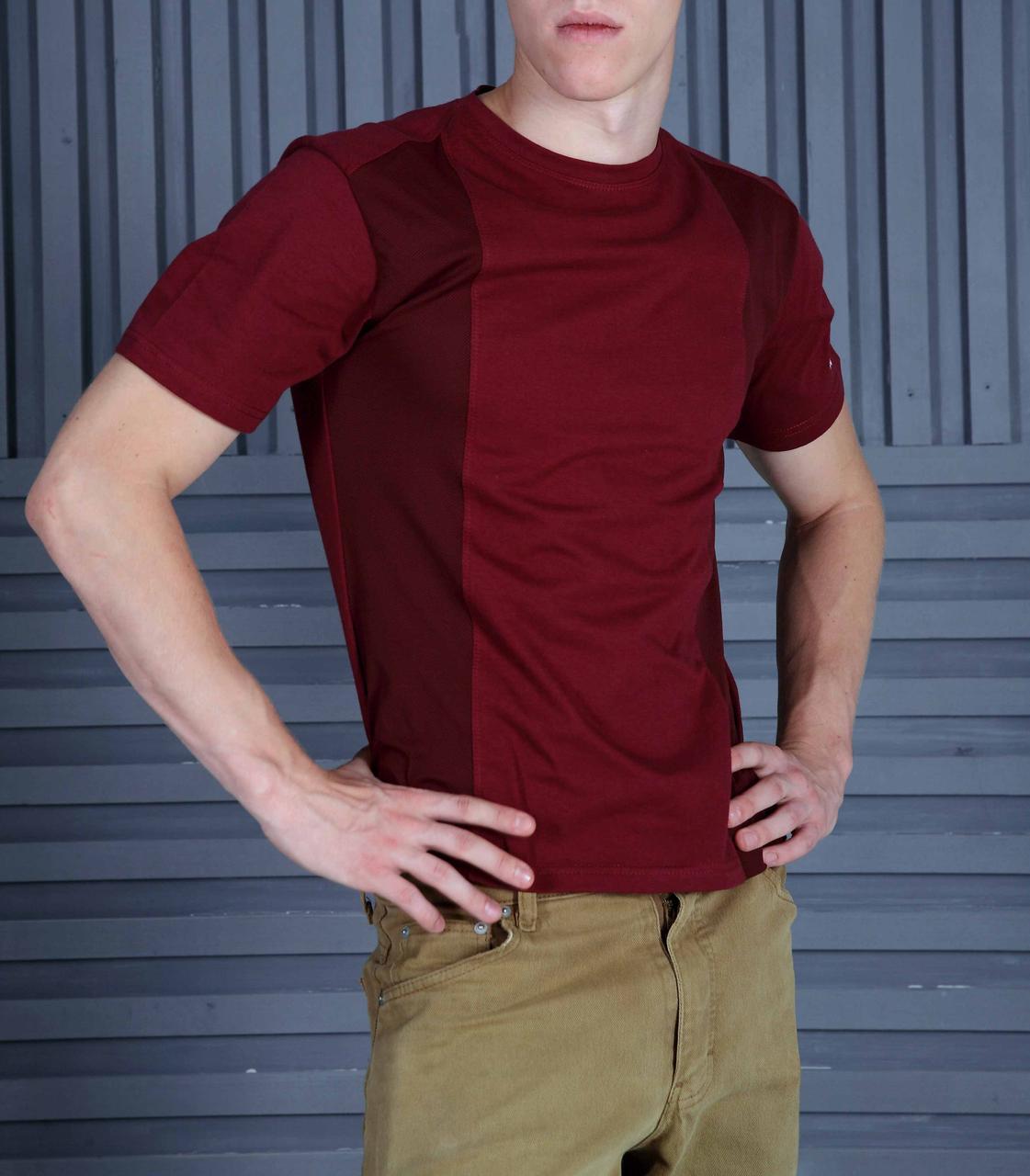 Мужская футболка комби бордо