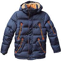 Куртка подростковая для мальчиков 128-152 см. темно-синяя Китай Оптом Li 6604