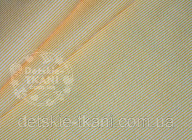 """Лоскут ткани №604а с рисунком """"Макароны"""" желто-оранжевого цвета , размер 38*47 см"""