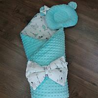 Конверт- плед на выписку (зимний) 100×100 + ортопедическая подушка для новорожденных из плюша.