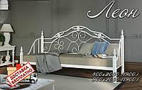 Диван-кровать металлический кованный Леон на деревянных ножках