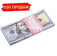 """Сувенирные деньги """"100$ доллар сувенирный Нового образца"""" пачка 80купюр"""