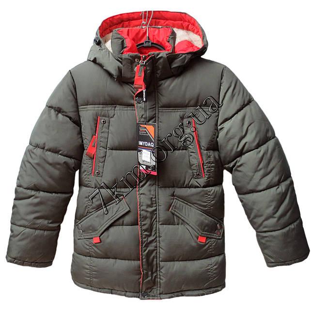 Куртка подростковая для мальчиков 128-152 см. хаки +красный Китай Оптом Li  6605 a3ecbdabc3263