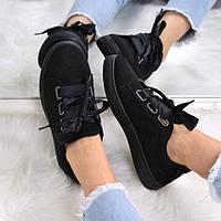 Кроссовки криперы под Puma Rihanna Suede черные атлас 3533 , спортивная обувь