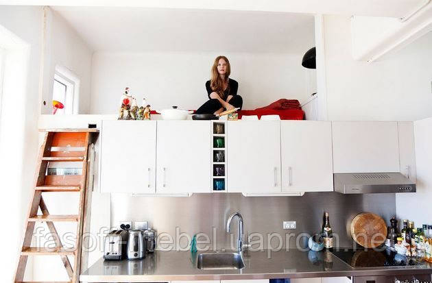 Кухня-чердак на заказ МДФ пленочный 021