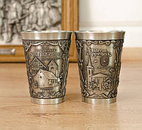 Два коллекционных оловянных бокала, олово, Германия, 150 мл, фото 1