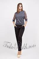 Свободная блуза из дайвинга и гипюра
