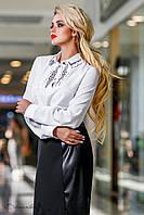 Офисная белая блузка, с длинным рукавом, с вышивкой, размеры 44, 46, 48, 50
