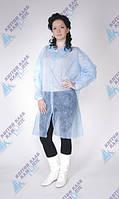 Одноразовый халат для посетителя на кнопках р.L (спанбонд 25г/м2) голубой