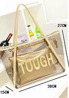 Прозрачная сумка Кендис + золотистая косметичка, фото 1