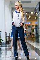 Прямые синие брюки из стрейч-коттона, размеры 44, 46, 48, 50