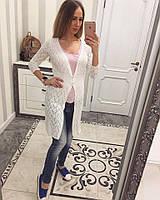 Однотонный женский кардиган ажурная машинная вязка лен и коттон, цвет белый