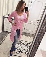 Однотонный женский кардиган ажурная машинная вязка лен и коттон, цвет розовый