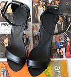 Viva! Красивые женские черные открытые  босоножки из натуральной качественной замши каблук 10 см лето, фото 8