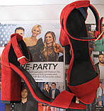 Viva! Красивые женские черные открытые  босоножки из натуральной качественной замши каблук 10 см лето, фото 10