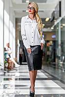 Стильная чёрная юбка из эко-кожи и костюмной ткани, размеры 44, 46, 48, 50