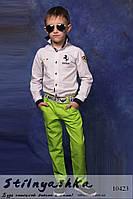 Стильные детские льняные брюки салат